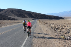 99 degrees and climbing, heading from Hell's Gate to Furnace Creek--out of the frying pan into the fire.